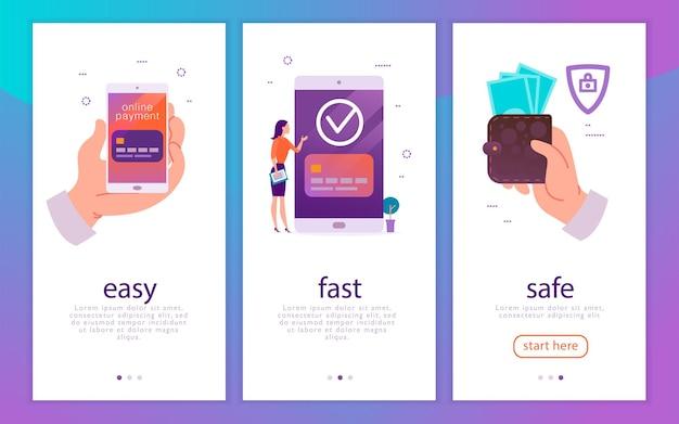 Векторная иллюстрация концепции для простых, быстрых и безопасных платежей мобильными деньгами с человеческой рукой, держащей смартфон, и женщиной на большом устройстве, оплачивающем онлайн. плоский стиль. для мобильного приложения, целевой страницы, веб-баннера