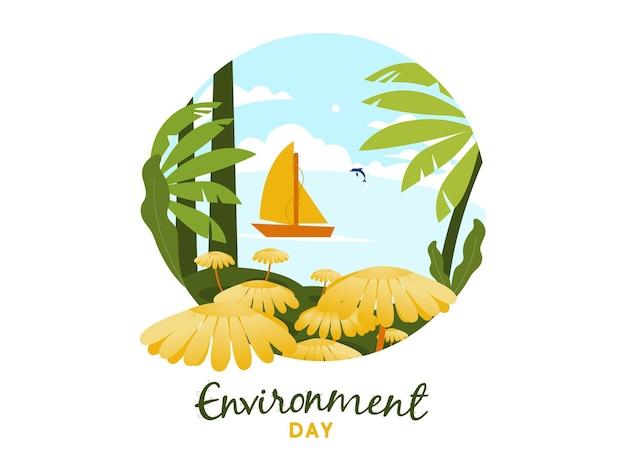 요트와 돌고래가 아름다운 바다에서 활동하는 세계 환경의 날을 위한 벡터 일러스트레이션 개념