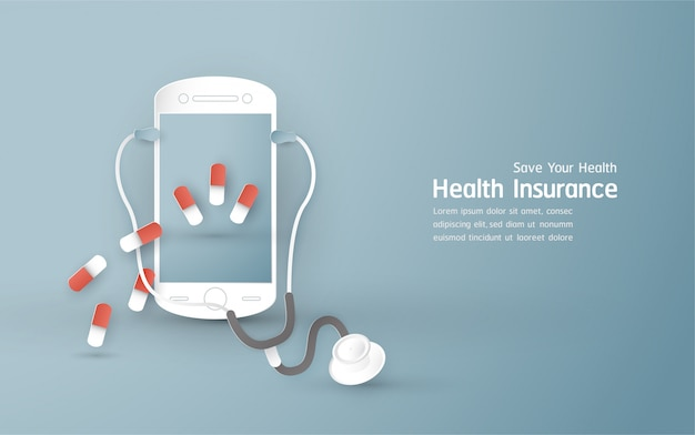 Vector illustration in concept of health insurance.