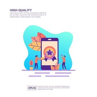 Vector illustration concept of high quality
