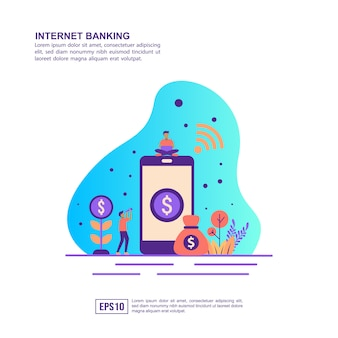 Vector illustration concept of internet banking