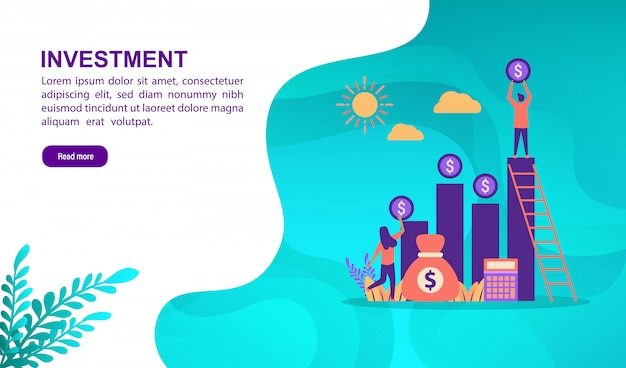Vector illustration concept of investment with character. landing page template