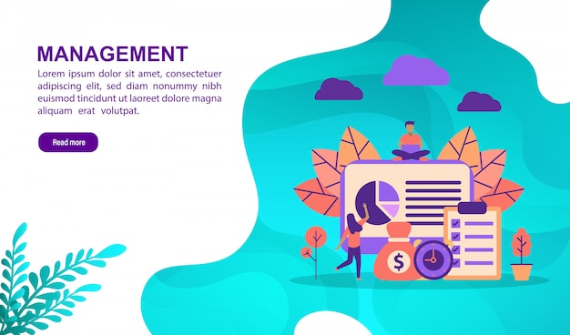 Vector illustration concept of management with character. landing page template
