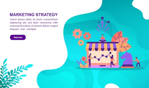 Vector illustration concept of marketing strategy with character. landing page template
