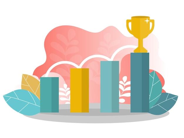 Векторная иллюстрация концепции успеха в бизнесе, лидерства, награды, карьеры, успешных проектов, цели, плана победы, конкуренции. креативный плоский дизайн для веб-баннера, деловых материалов.