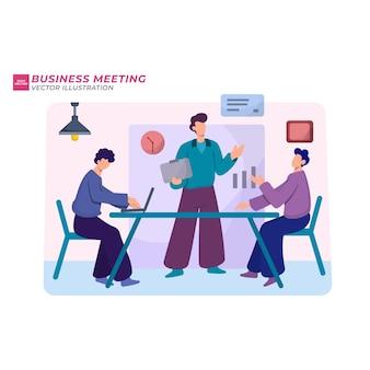ビジネスワークフロー、時間管理、計画、タスクアプリ、チームワーク、会議のベクトルイラストの概念。ウェブバナー、マーケティング資料、ビジネスプレゼンテーションのための創造的なフラットデザイン。