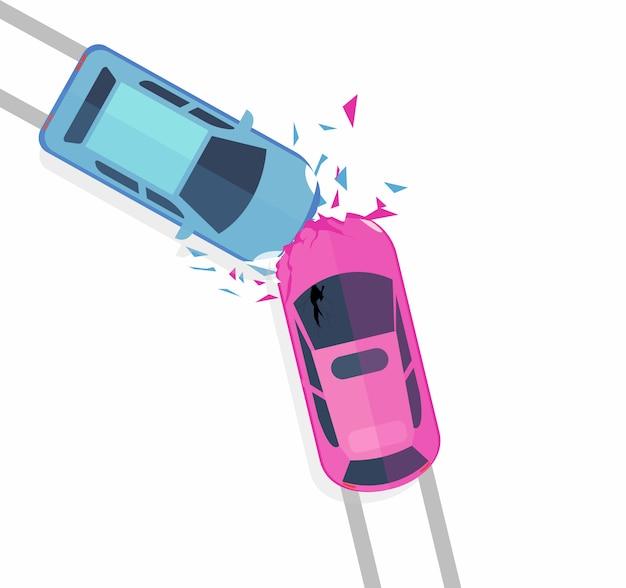 車の事故のベクトル図の概念。白い背景のibフラットな漫画のスタイルに分離された2台の車のクラッシュの平面図です。