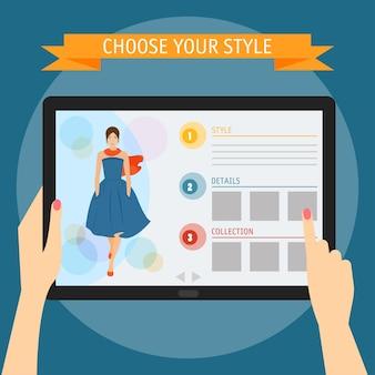 Векторная иллюстрация концепции рук, держащих современный цифровой планшет и указывающих на экран с веб-сайтом моды. плоский стиль дизайна, изолированные на ярком стильном цветном фоне с лозунгом