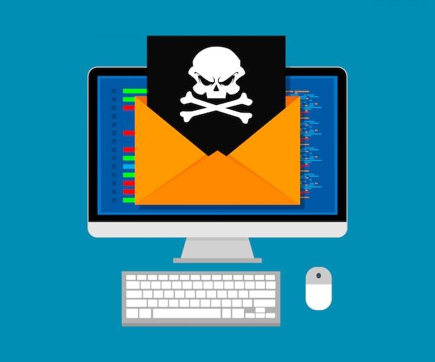 Векторная иллюстрация концепции вирусов и взлома. конверт с черепом на экране компьютера. плоский дизайн.