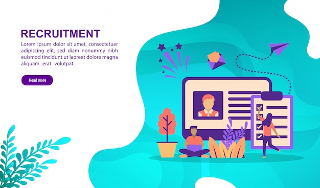 Vector illustration concept of recruitment with character. landing page template