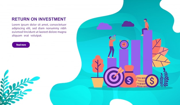Vector illustration concept of return on investment with character. landing page template