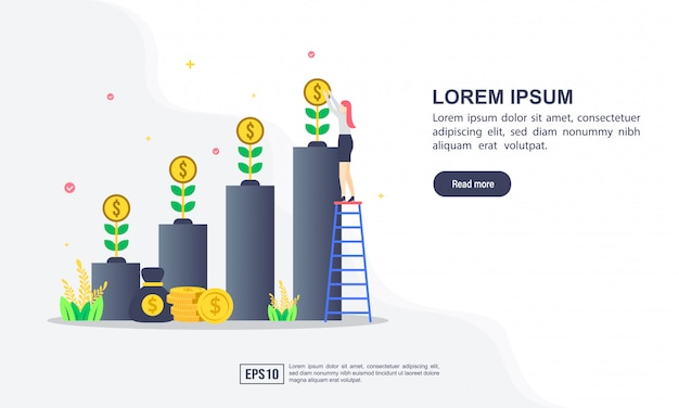 Vector illustration concept of return on investment with character