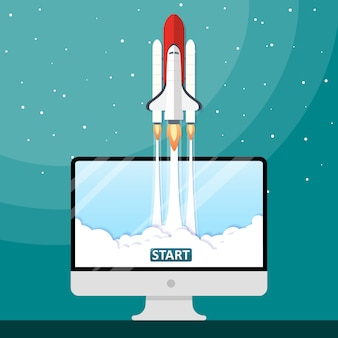 Vector illustration concept rocket launch