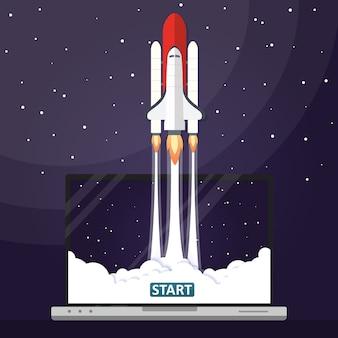 Vector illustration concept rocket launch