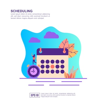 Vector illustration concept of scheduling