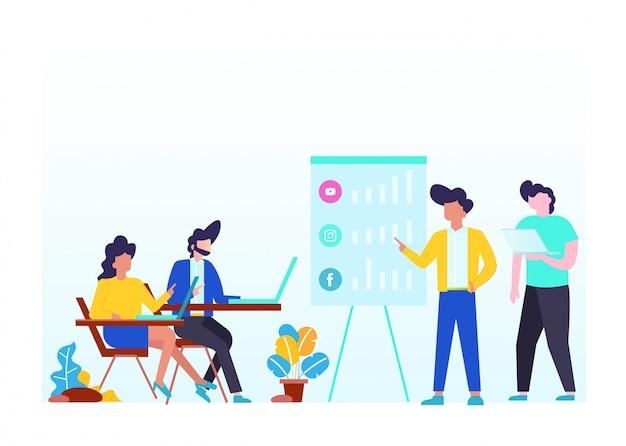 Vector illustration concept of social media.