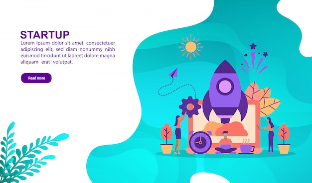 Vector illustration concept of startup with character. landing page template