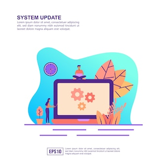 Vector illustration concept of system update