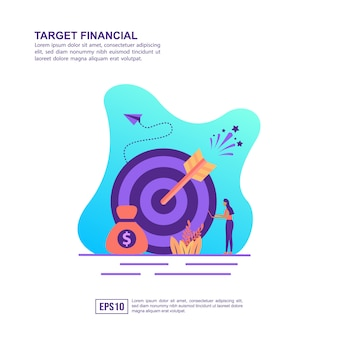 Vector illustration concept of target financial