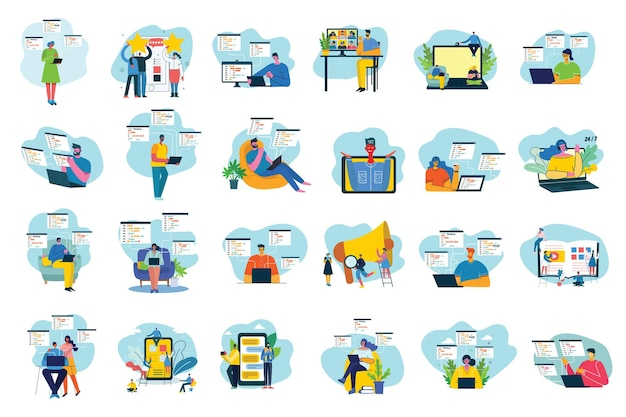 Vector illustration of concept of team work, business and start up