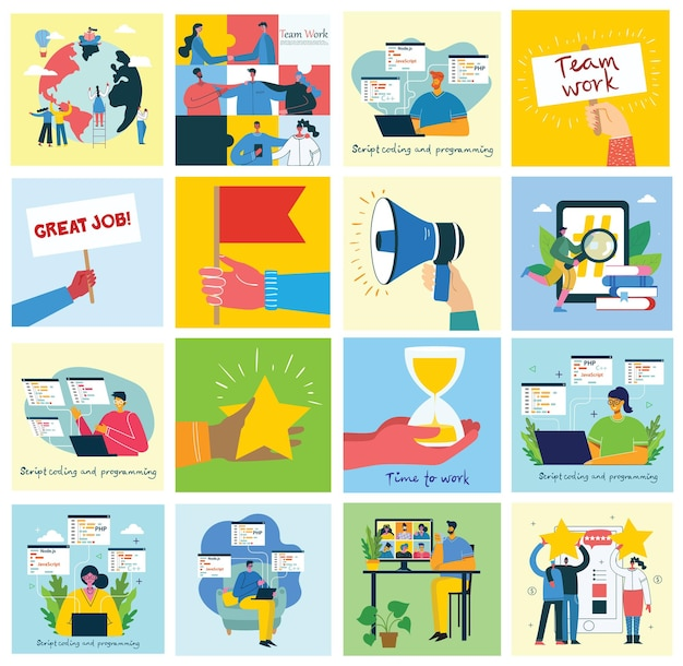 Vector illustration of concept of team work, business and start up Premium Vector