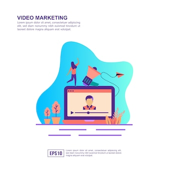 Vector illustration concept of video marketing