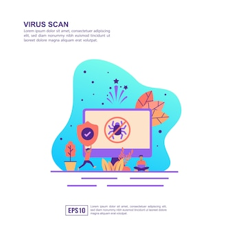 Vector illustration concept of virus scan
