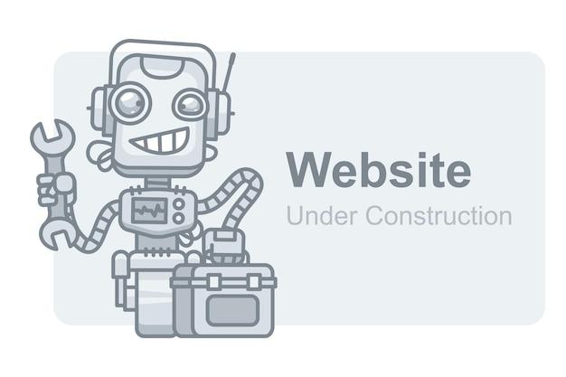 Vector illustration, concept website under construction robot holding wrench, format eps 10