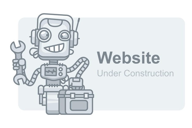 ベクトルイラスト、建設中のコンセプトウェブサイトロボット保持レンチ、フォーマットeps 10