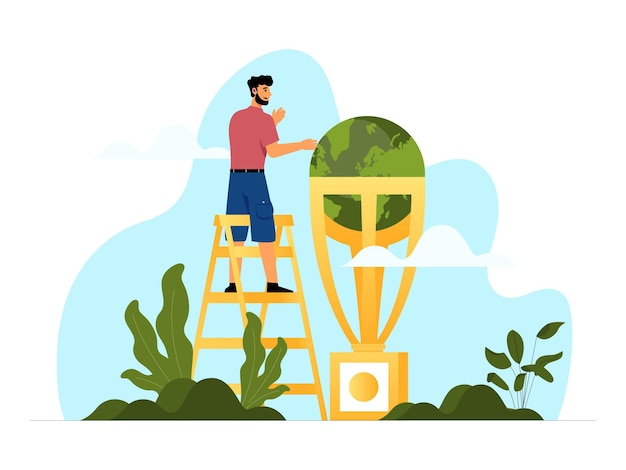 Vector illustration concept for world environment day with a male character arranging the globe as a precious trophy