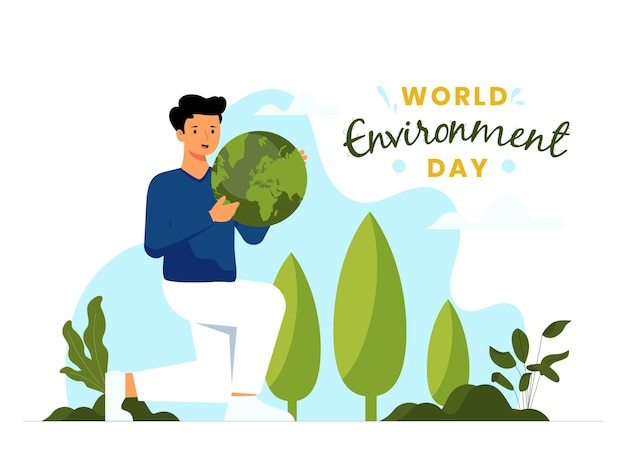 Vector illustration concept for world environment day with a male character holding a globe as the symbol of protecting the environment