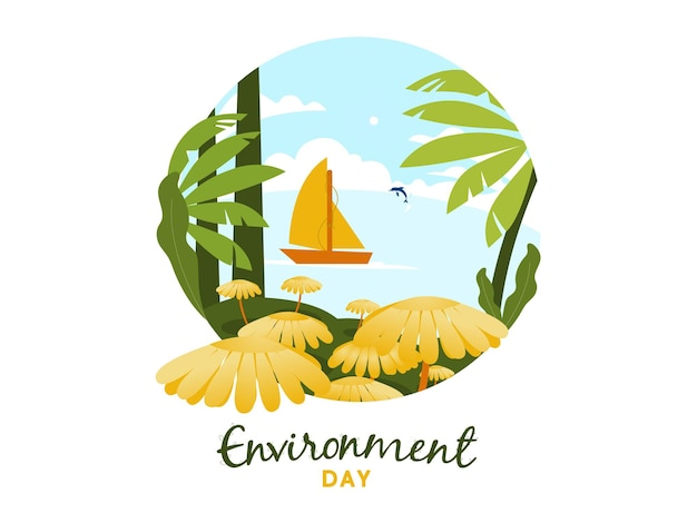 Vector illustration concept for world environment day with sailboats and dolphins doing activities in the beautiful sea