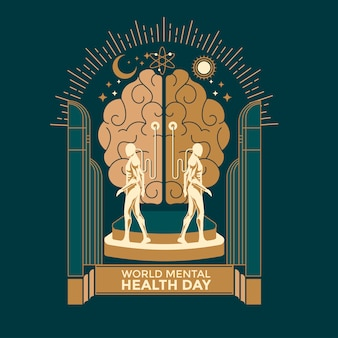 Vector illustration concept of world mental health day.