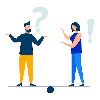 Vector illustration conceptual illustration of frequently asked questions exclamation marks
