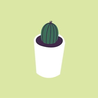 Vector illustration concrete pot with cactus plant. stylish home decor in trendy scandinavian style.