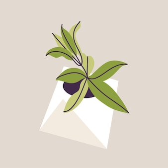 Vector illustration concrete pot with plants. stylish home decor in trendy scandinavian style.