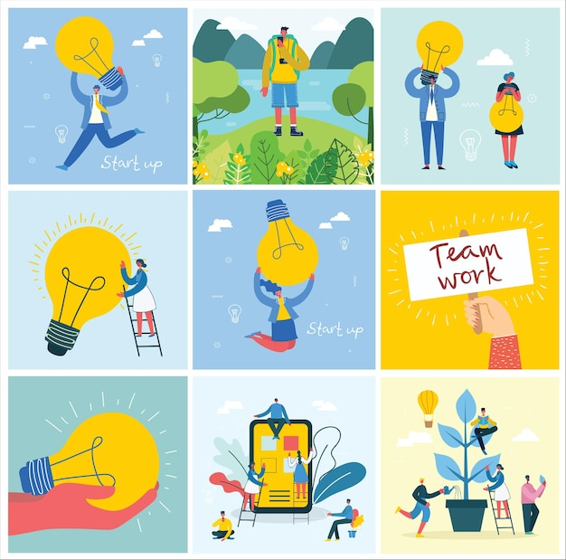 Vector illustration of connection, team leader, online review, time mamagement, coworking space, save the planet, start up, team work backgrounds