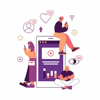 Vector illustration of contemporary man and women watching and promoting popular video on devices while browsing social media near huge smartphone