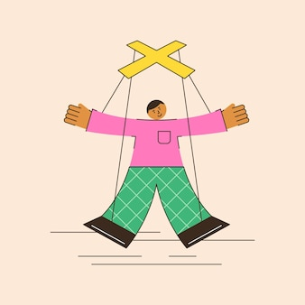 Vector illustration of the controlling function of management controlled employee as a puppet on ropes controlled by the boss an abstract scene of total control in a minimalistic flat style