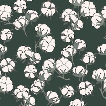 레트로 식물 스타일의 벡터 일러스트 레이 션 목화 지점 빈티지 새겨진 스타일 원활한 패턴