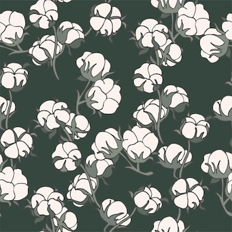 Vector illustration cotton branch  vintage engraved style seamless pattern in retro botanical style