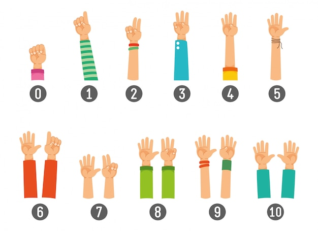 Vector illustration of counting hand