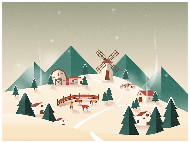 Vector illustration of countryside organic farm .horse ranch in winter.