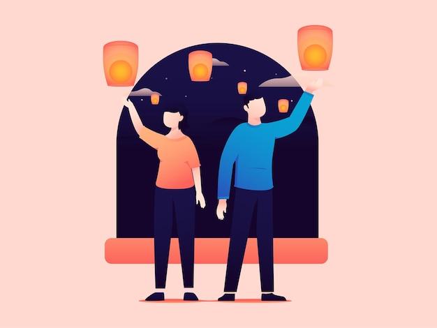 Vector illustration of a couple celebrating vesak day by flying lanterns