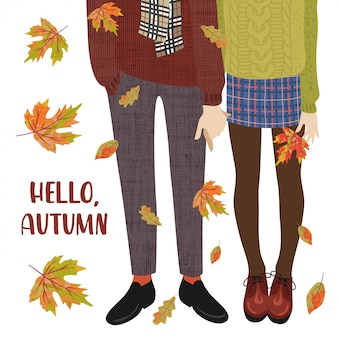 Vector illustration of a couple of teenagers and falling autumn leaves