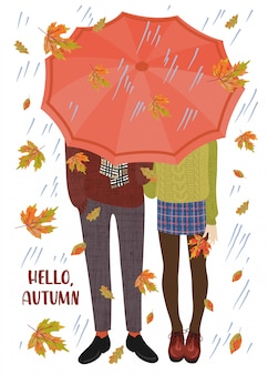 Vector illustration of a couple of teenagers under the umbrella and falling autumn leaves