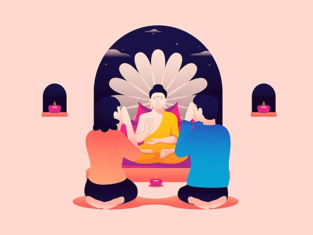 Vector illustration of a couple worshiping a buddha statue