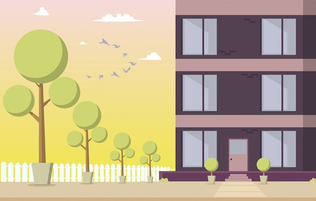 Vector illustration courtyard residential building