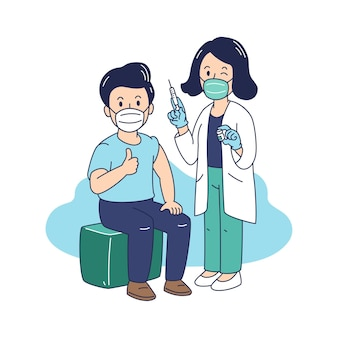 Vector illustration covid-19 vaccination a man receiving coronavirus vaccine injection from female doctor for design.