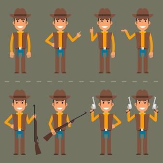 벡터 일러스트 레이 션, 다양한 포즈의 카우보이 캐릭터, eps 10 형식.
